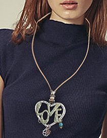 Fashion Antique Gold Letter Love Decorated Hollow Out Heart Design Necklace