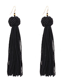Fashion Black Pure Color Decorated Long Tassel Design Earrings