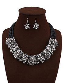 Fashion Black Flower Decorated Pure Color Simple Jewelry Sets