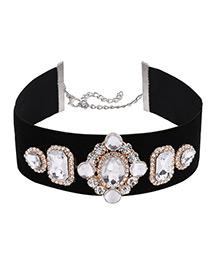Fashion Black Geometric Shape Diamond Decorated Simple Width Choker