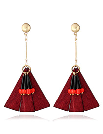 Fashion Red Geometric Shape Pendant Decorated Color Matching Earings
