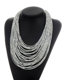 Fashion Silver Color Beads Decorated Pure Color Multi-layer Necklace