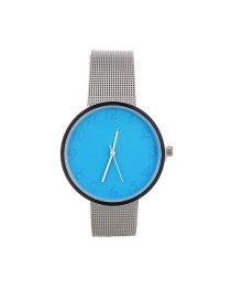 Fashion Blue Color Matching Decorated Round Dail Simple Chain Watch