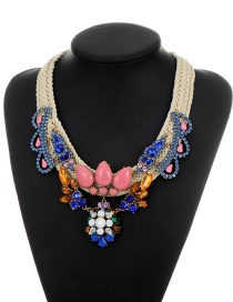 Fashion Blue Oval Shape Gemstone Decorated Simple Hand-woven Necklace
