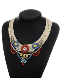 Fashion Multi-color Round Shape Diamond Decorated Hand-woven Neckalce