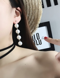 Fashion Silver Color Pearls Decorated Pure Color Tassel Design Long Earrings