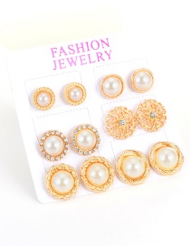Fashion Gold Color Big Pearls Decorated Pure Color Flower Shape Earrings