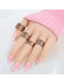 Fashion Gold Color Flower Pattern Decorated Pure Color Hollow Out Ring (4pcs)