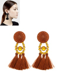 Fashion Coffee Tassel Pendant Decorated Pure Color Simple Earrings