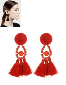 Fashion Red Tassel Pendant Decorated Pure Color Simple Earrings
