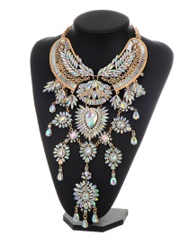 Exaggerate Multi-color Wing Shape Decorated Simple Short Chain Necklace
