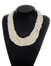 Fashion White Pure Color Decorated Hand-woven Dimple Beads Necklace