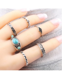 Fashion Silver Color Oval Shape Gemstone Decorated Pure Color Simple Ring(7pcs)