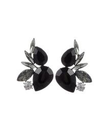 Fashion Black Water Drop Shape Diamond Decorated Pure Color Earrings