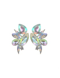 Fashion Multi-color Water Drop Shape Diamond Decorated Color Matching Earrings