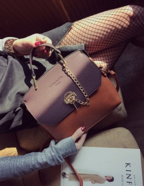 Fashion Purple Color Matching Decorated Texture Shape Shoulder Bag