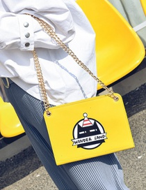 Fashion Yellow Cartoon Pattern Decorated Pure Color Shoulder Bag