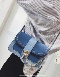 Fashion Blue Chain Decorated Pure Color Square Shape Shoulder Bag