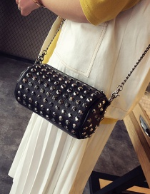 Fashion Black Diamond Decorated Bucket Shape Simple Shoulder Bag