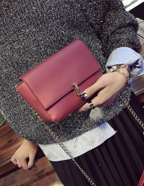 Fashion Red Buckle Decorated Pure Color Square Shape Shoulder Bag