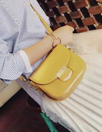 Fashion Yellow Pure Color Decorated Square Shape Simple Shoulder Bag