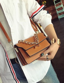 Fashion Yellow Chain Decorated Pure Color Square Shape Shoulder Bag
