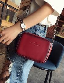 Fashion Claret Red Letter Pattern Decorated Square Shape Shoulder Bag