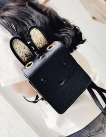 Lovely Black Rabbit's Ears Decolrated Simple Pure Color Backpack