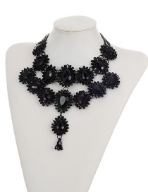 Elegant Black Waterdrop Shape Diamond Decorated Simple Double Layer Necklace