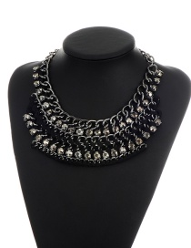 Bohemia Black Round Shape Decorated Simple Short Chain Necklace