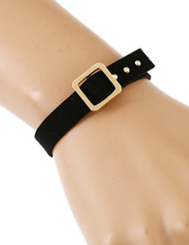 Fashion Black Rivet&square Shape Decorated Simple Bracelet