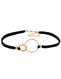 Fashion Gold Color Circular Rings Decorated Color Matching Choker