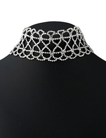 Fashion Silver Color Full Diamond Decorated Letter 9 Shape Hollow Out Choker