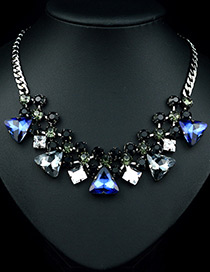 Fashion Black Triangle Shape Diamond Decorated Color Matching Necklace