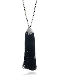 Fashion Black Long Tassel Pendant Decorated Pure Color Long Necklace