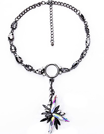 Exaggerate Black Oval Shape Diamond Decorated Simple Short Necklace