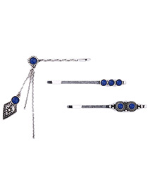 Vintage Blue Diamond Shape Decorated Simple Jewelry Sets