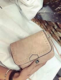 Vintage Pink Metal Round Rivet Decorated Simple Pure Color Bag