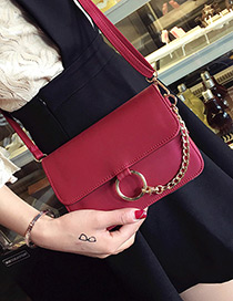 Fashion Red Metal Tassel&chain Decorated Simple Pure Color Bag
