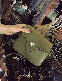 Fashion Green Lock Catch Decorated Simple Long Chain Bag