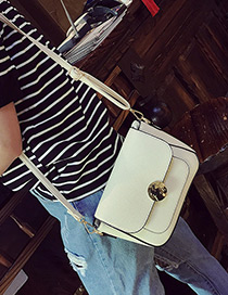 Vintage White Round Shape Lock Catch Decorated Simple Long Chain Bag