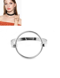 Fashion Silver Color Metal Circular Ring Decorated Simple Pure Color Bracelet