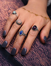 Vintage Silver Color Round Shape Decorated Simple Ring Sets(5pcs)