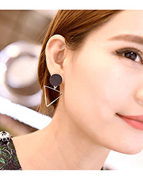 Fashion Gold Color Hollow Out Triangle Pandent Decorated Simple Earrings