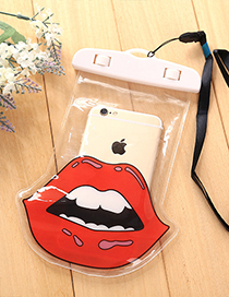 Fashion Red Lip Pattern Decorated Color Matching Simple Phone Cover