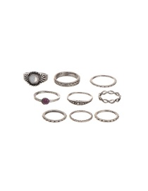 Vintage Silver Color Round Shape Decorated Simple Rings(9pcs) (9 Pcs)
