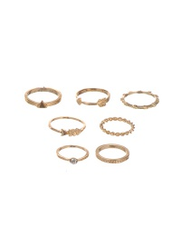 Vintage Gold Color Metal Arrows Decorated Simple Rings (7pcs)