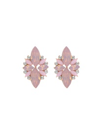 Elegant Pink Oval Shape Gemstone Decorated Simple Earrings