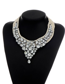 Elegant Silver Color Round Shape Diamond Decorated Simple Hand-woven Necklace