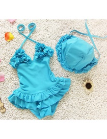Lovely Blue Flower Decorated Simple Pure Color Child Swimwear(with Hat )